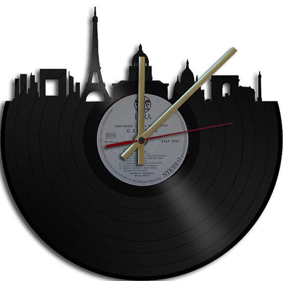 Paris Theme Vinyl Record Clock By Art