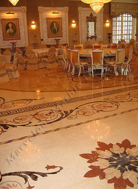 Custom Water Jet Marble Floor Design traditional
