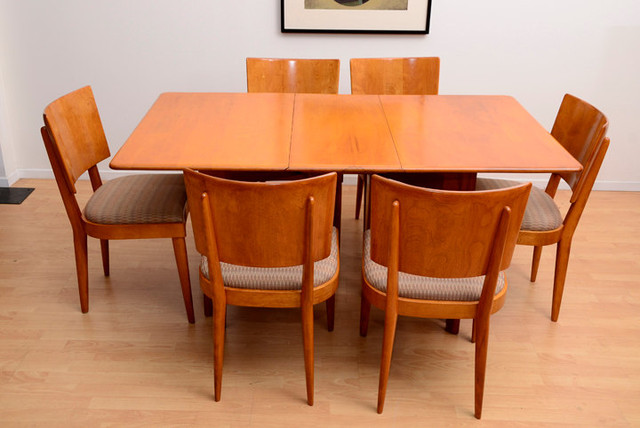 heywood wakefield dining table and set of 6 dining chairs by ambianic