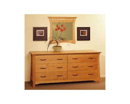 SHINTO 6 DRAWER HORIZONTAL DRESSER - East meets West with this Asian style arts and crafts solid hardwood bedroom collection.