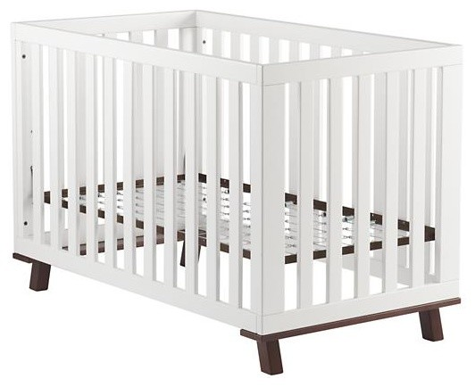 Low-Rise Crib, White Frame With Espresso Base contemporary-cribs