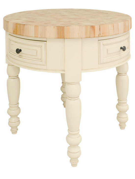 """Inviting Home - Round Kitchen Island (antique white) - round kitchen island in antique white finish 36"""" Diameter x 36""""H Saratoga round kitchen island in antique white finish. Round kitchen island features soft-close under-mount slides on drawers. 3"""" thick end grain maple butcher block top included. Legs knockdown."""
