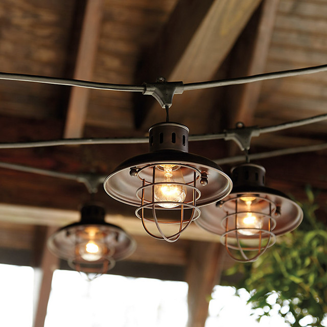 Nautical Shade For Vintage String Lights - Industrial - Outdoor Rope And String Lights