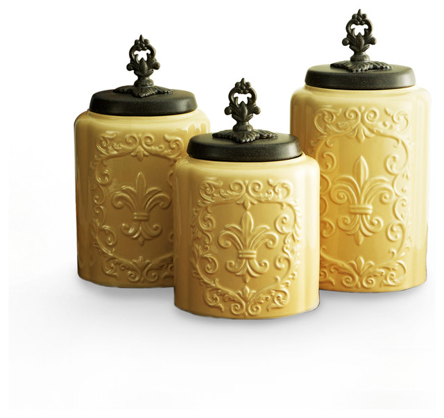 Antique canisters set of 3 cream contemporary food for Cream kitchen set