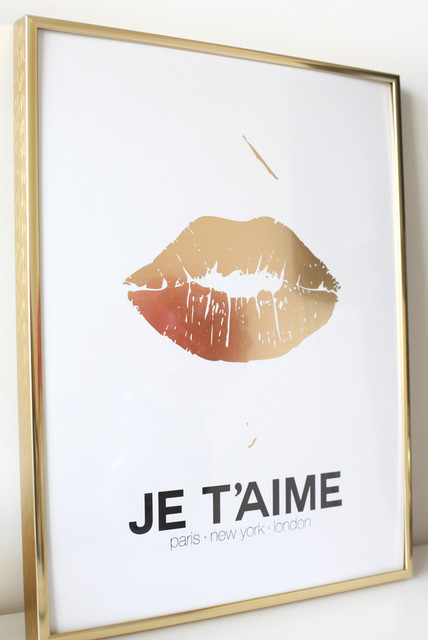 Gold Lips Print Contemporary Artwork By Madebygirl
