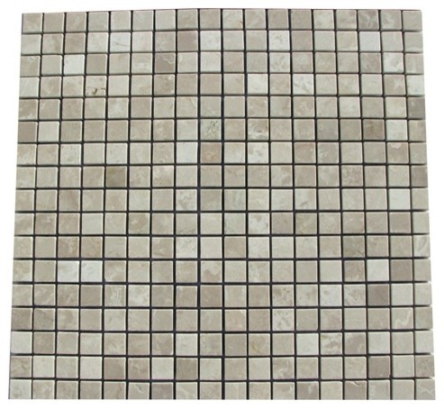 Botticino Beige Polished Square Pattern Mesh-Mounted Marble Tiles modern-wall-and-floor-tile