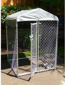 """Lucky Dog """"Hi-Rise"""" Box Kennel with Cover, 4'L x 4'W x 6'H modern-dog-kennels-and-crates"""