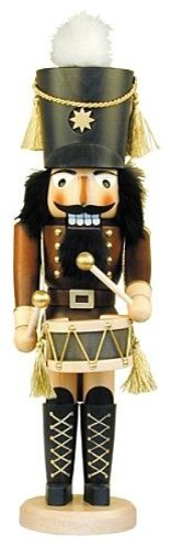 Brown Wood Drummer Nutcracker - Christmas Decorations traditional-holiday-decorations