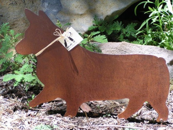 Rusty Finish Pembroke Corgi Metal Garden Art By Mountain Iron eclectic garden sculptures