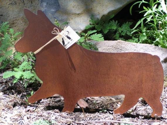 Rusty Finish Pembroke Corgi Metal Garden Art By Mountain Iron eclectic-garden-sculptures
