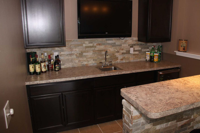 Basement Bar Cabinetry And Tile Ideas Eclectic