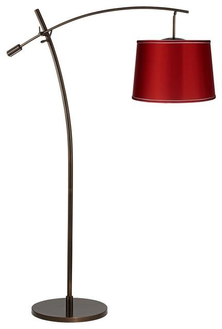 tara red satin shade balance arm arc floor lamp. Black Bedroom Furniture Sets. Home Design Ideas