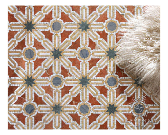 Stone Mosaic - Alcazar mosaic pattern is  inspired by the patterns and color  from the  Mediterranean and Spanish Colonial architecture and interiors.