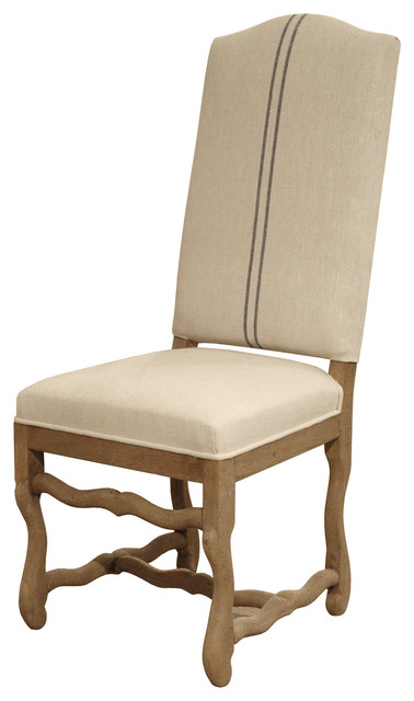 French Country Camel Back Linen Gray Stripe Dining Chair