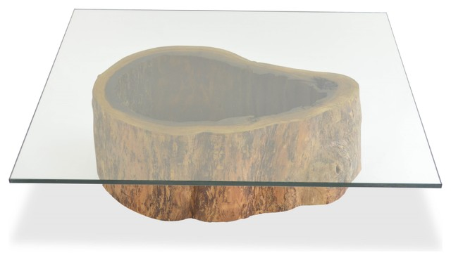 Salvaged Hollow Trunk Coffee Table - Square Glass Top contemporary-coffee-tables