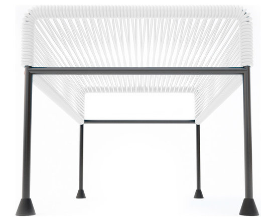 Adam Ottoman, White Weave On Black Frame - Sleek woven vinyl makes this coffee table stand out from the crowd. It's a great option for indoor or outdoor use since the vinyl is UV protected and the metal base is galvanized. The only challenge would be deciding on your favorite color combination.