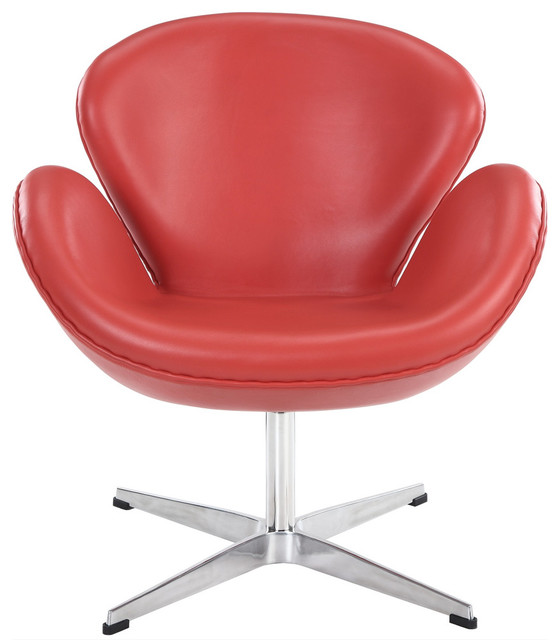 Wing Chair in Aniline Leather Red contemporary-armchairs