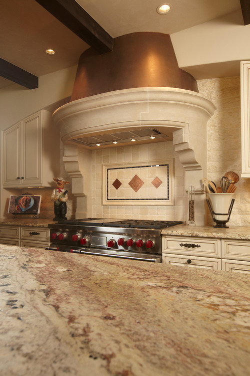 Kitchen Backsplash With Sienna Bordeaux Granite