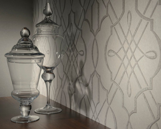 Arabesque - This modern wall covering pattern is influenced by traditional Arabesque design with contemporary twists. With its neutral color palette, this contemporary residential wallpaper can be matched with almost any pieces of furniture.