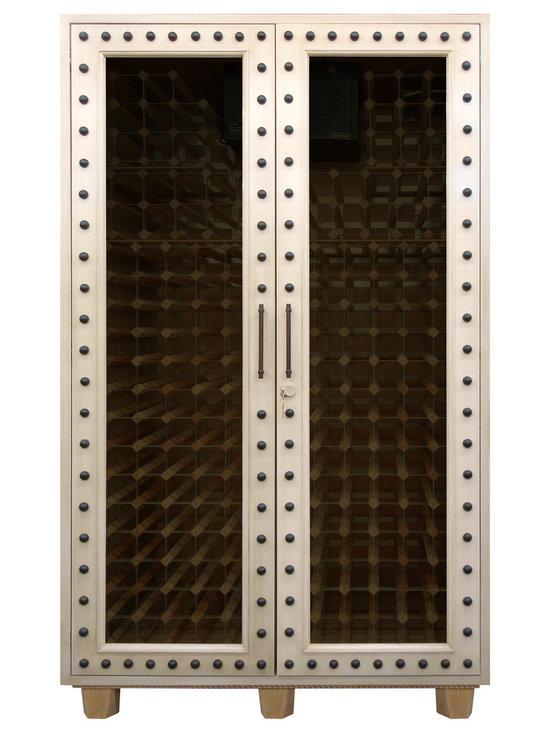 Custom Studded Wood Wine Cabinet -