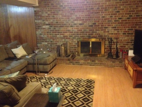 What color goes with a red brick fireplace?