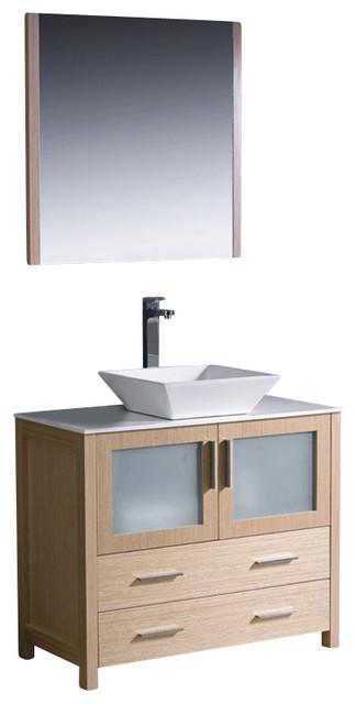 "Fresca Torino 36"" Modern Bathroom Vanity w/ Vessel Sink - Light Oak modern-bathroom-vanities-and-sink-consoles"