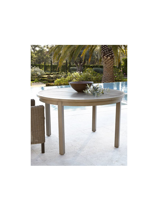 "Horchow - Portico Dining Table, 52""Dia. - Outdoor living and entertaining takes on new flair with this all-weather dining table. Made of aluminum with multistep, hand-applied powder-coat finish. Hole for umbrella with plug. Outdoor safe. 52""Dia. x 30""T. Imported. Boxed weight, approximate..."