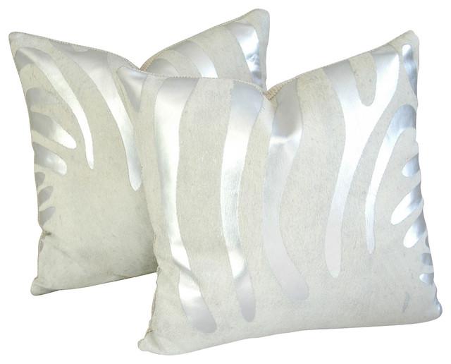 Silver/White Zebra Cowhide Pillows, Pr