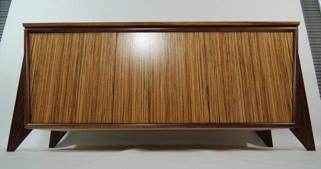 Furniture - TV Console - Zebra wood and Walnut - contemporary