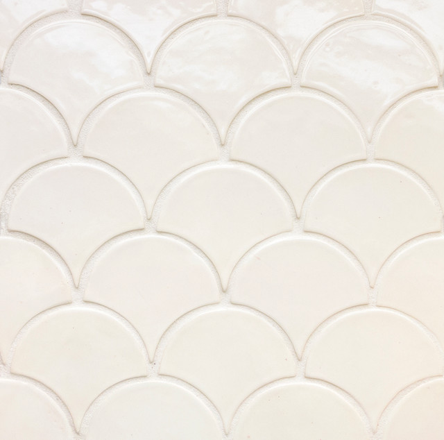 Deco White Moroccan Fish Scales Modern Tile Other