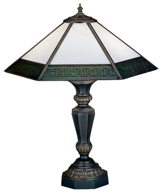 """Meyda Lighting 31299 19""""H Greek Key Mission Table Top traditional-table-lamps"""