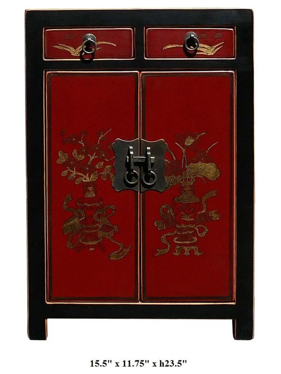 Chinese Red Color Vases & Flowers Graphic Night Stand / End Table - This elegant night stand is made of solid elm wood and hand painted with vases and flowers graphic on the front side.