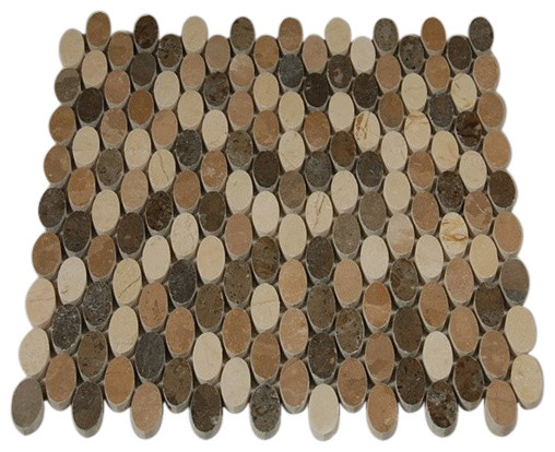Kinetic Amber Ovals Marble Tiles contemporary-tile