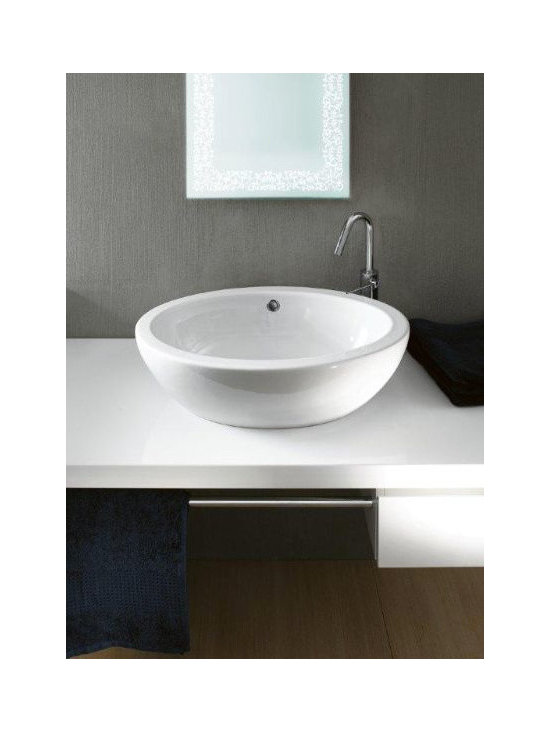 "GSI - Stylish Oval Shaped White Ceramic Vessel Bathroom Sink by GSI - Contemporary above counter vessel bathroom sink made of high quality white ceramic. Bowl shaped washbasin comes with overflow but has no faucet holes. Designed and manufactured in Italy by GSI. Sink dimensions: 23.60"" (width), 7.10"" (height), 16.50"" (depth)"