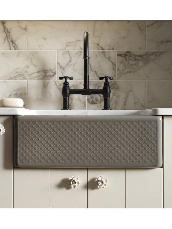 Kohler Kitchen Sink - KOHLER K-14571-T3-K5 Evenweave Design on Alcott Tile-In Sink in Translucent Cashmere