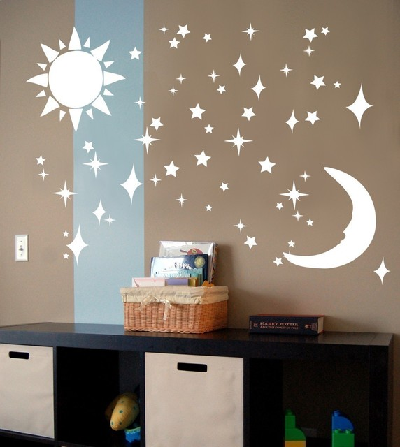 sun moon stars vinyl wall art decal sticker by decal farm modern wall decals by etsy. Black Bedroom Furniture Sets. Home Design Ideas