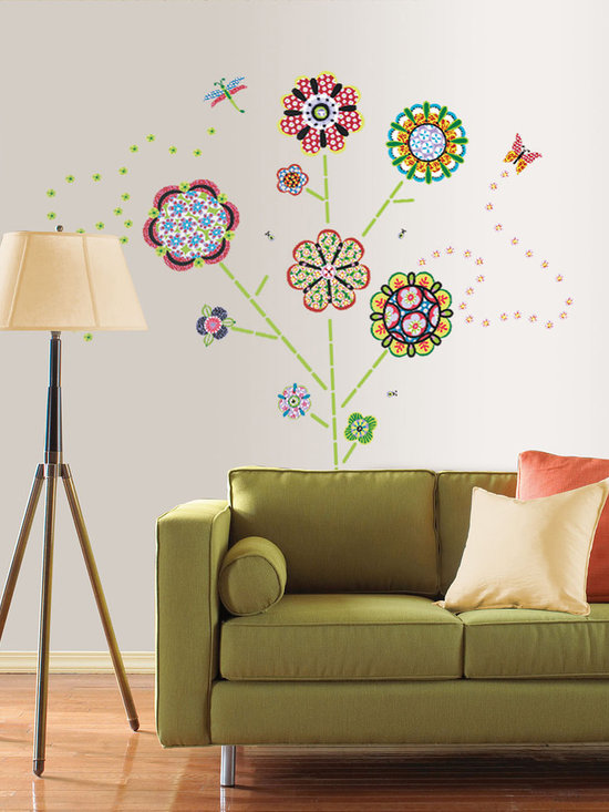 Flower Power Wall Art - An enchanted look, these WallPops come in a kit that can be arranged however you like. Flower Power is whimsical and fun for kids or adults.