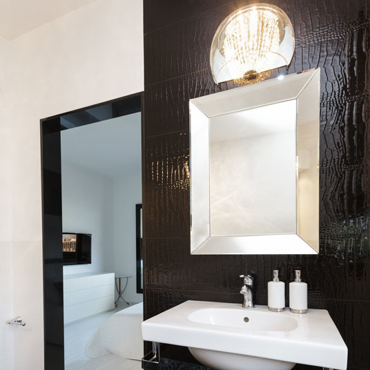 Silver Gold Brush Framed Mirror  Contemporary Bathroom