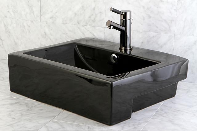 Concord Black Vitreous China Recess Table/ Wall Mount Bathroom Sink - Contemporary - Bathroom ...