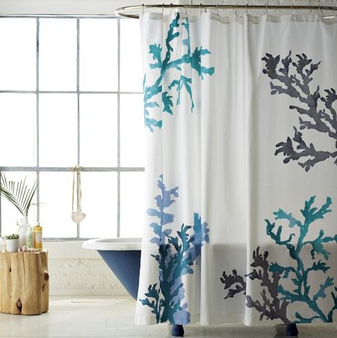 Coral reef shower curtain eclectic shower curtains Nature inspired shower curtains