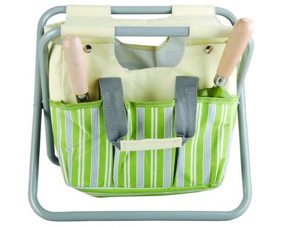 Esschert Design - Tool Stool Striped - Love spending time in the garden? Save your knees and keep your tools next to you with this gardening stool. Like a handyman's tool belt, this stool has a snap on canvas bag that stores your gardening tools and provides a seat while you work.