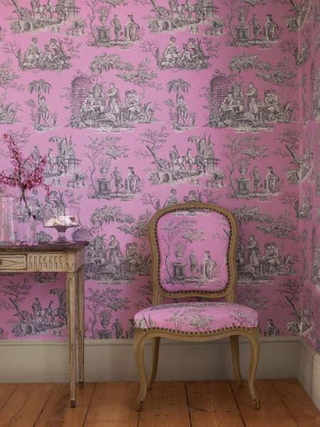 toile pink wallpaper fabric chair french manuelcanovas1jpg