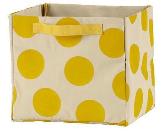 Dotted Cube Bin, Yellow -
