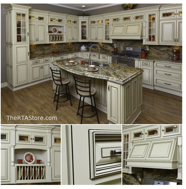 Vintage White Cabinets Traditional Kitchen Cabinetry