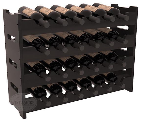 24 Bottle Mini Scalloped Wine Rack in Redwood, Black Stain + Satin Finish contemporary-wine-racks