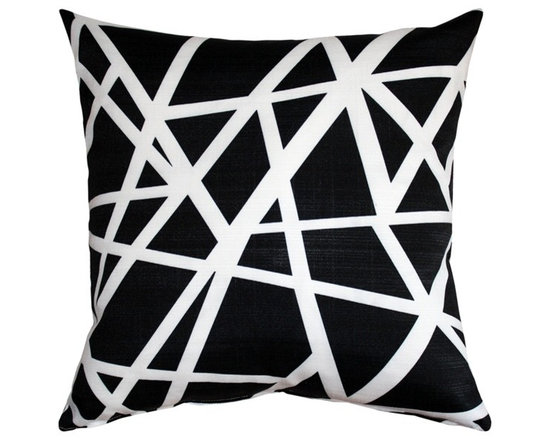 "Pillow Decor - Pillow Decor - Bird's Nest Black Throw Pillow 20X20 - This versatile 20 inch square geometric accent pillow is both modern and elegant. The bold bird""s nest pattern featuring dynamic white stripes on a black background will add contemporary flair to your home decor. The Bird""s Nest Throw Pillow is a great addition to any contemporary designed room. The pillow is perfect as a standalone accent piece or can be used to creatively tie in other decor pieces such as abstract art objects. The bird""s nest design is printed on both sides on an indoor/outdoor spun polyester fabric."