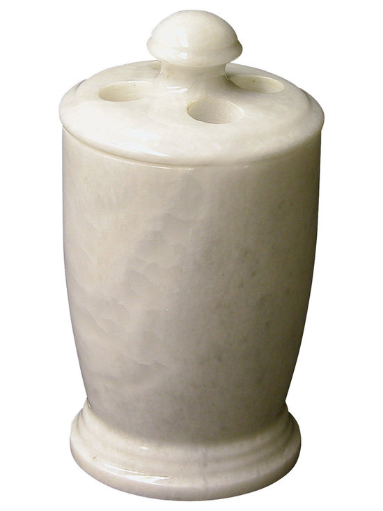 Nature Home Decor - Toothbrush Holder in White Marble - White Marble excavated from the foothills of Himalayan Mountains. Nature Home Decor offers exclusive designs of bathroom accessories and other home decor products in this marble.