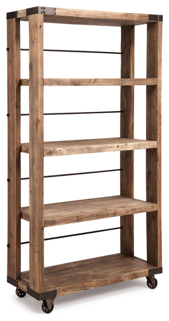 Newcomb Wide 4 Level Shelf Distressed Natural rustic-bookcases