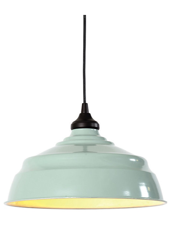 Ballard Designs - Large Industrial Metal Replacement Shade - Hardwire and Can Light options feature a bronze ceiling canopy. Plug-????In Cord is wrapped in black fabric and includes ceiling hook for easy hanging. Changes the mood of the room instantly. Reinvent your look with our versatile industrial pendant lighting. Choose from three unique options to attach your pendant to the ceiling. Use the instant light adapter for can lights to give old recessed lighting an instant update. The conversion adapter screws into any existing medium base light socket/recessed can light with no additional wiring needed. A built-in cord spindle lets you adjust the drop to fit your space. Choose our versatile and easy-to-use plug-in option that plugs into a standard outlet. It has a 20' cord so you can change the look of a room in an instant without any additional wiring. Or select our traditional option that simply attaches into your ceiling like a standard hardwired pendant. The shade is crafted of iron with white enamel interior and choice of exterior color. Now you can create a pendant light anywhereLarge Industrial Pendant Shade Adapter features: . Plug-??In Cord is wrapped in black fabric and includes ceiling hook for easy hanging. .