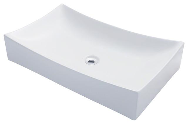 MR Direct v330 Porcelain Sink, White, Brushed Nickel, Drain modern-bathroom-sinks